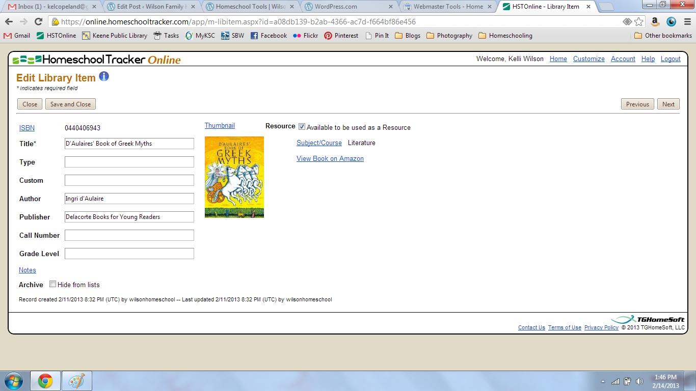 homeschool tracker library screenshot